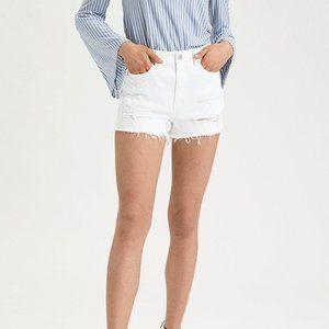 American Eagle White Jean Mom Shorts Distressed